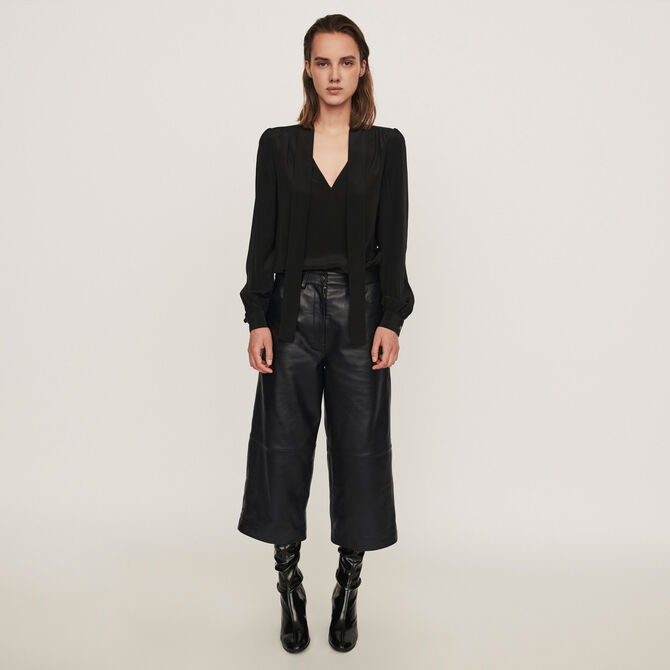 Leather bermuda-like pants -  - MAJE