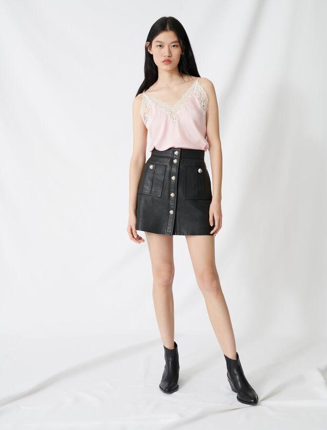 Jupe trapèze boutonnée en cuir - Pap_Jupes-Shorts - MAJE