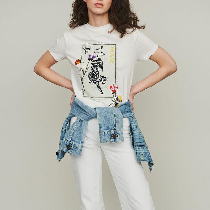 Printed embroidered T-shirt - Beachwear - MAJE