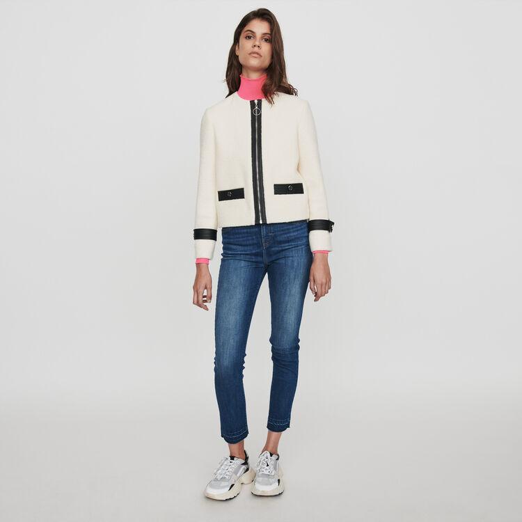 Zipped tweed-style contrast jacket : Blazers color Ecru