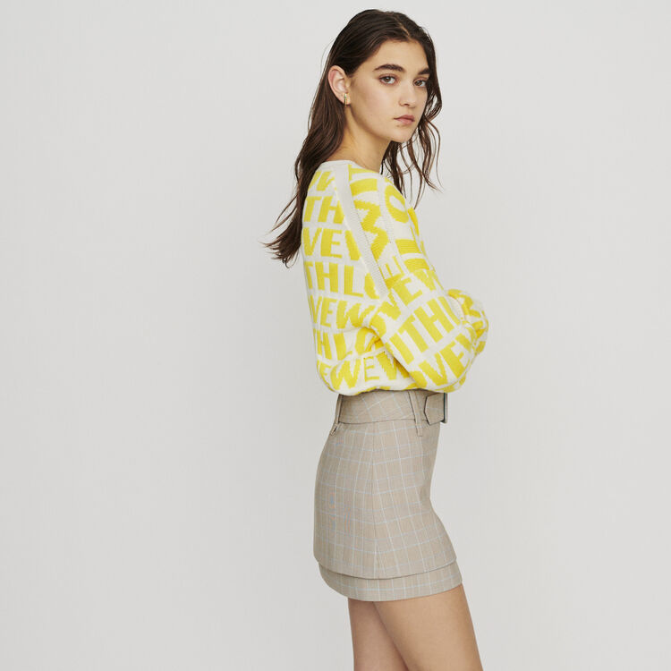 Belted checked short skirt : Skirts & Shorts color CARREAUX