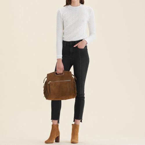Straight-cut jeans with asymmetric hem : Jeans color Black 210
