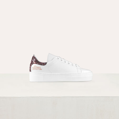 Leather sneakers with sequin detail : Shoes color White