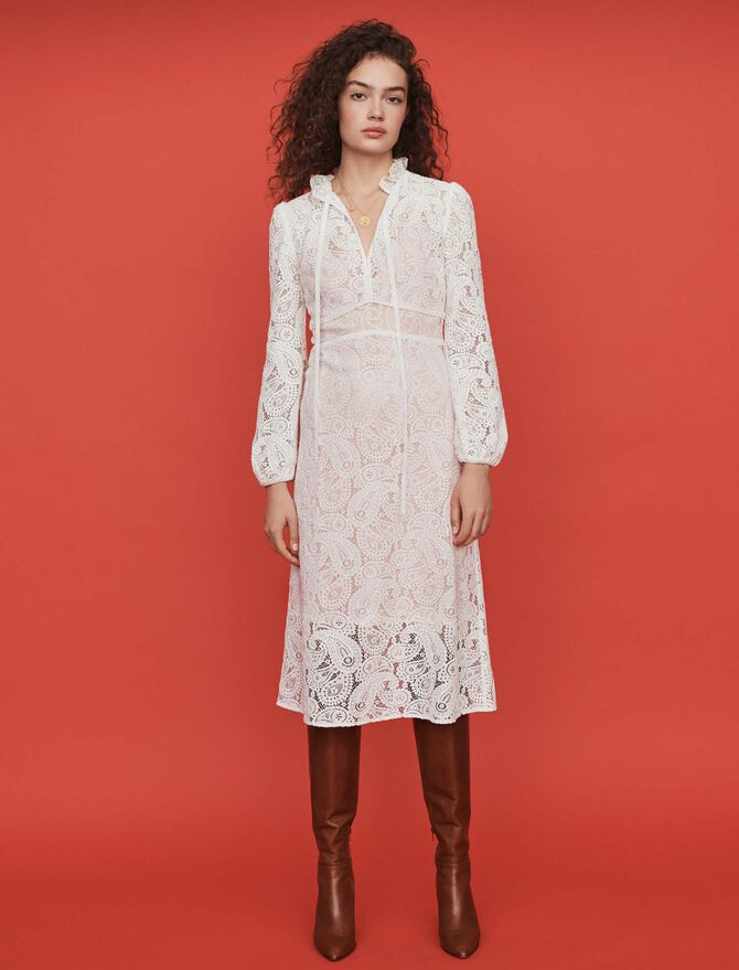 Guipure dress with cashmere detail - Dresses - MAJE