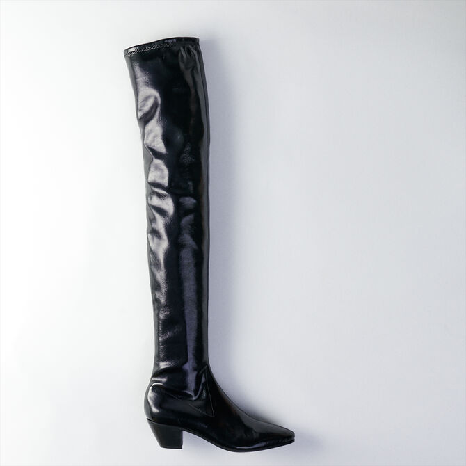 Heeled stretch vinyl thigh boots -  - MAJE