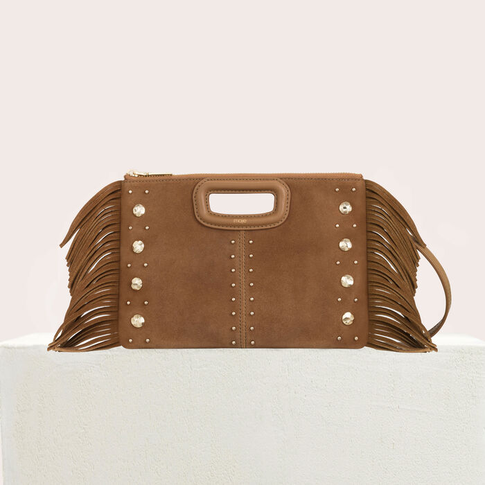 Suede duet bag with studs : M Duo color Camel