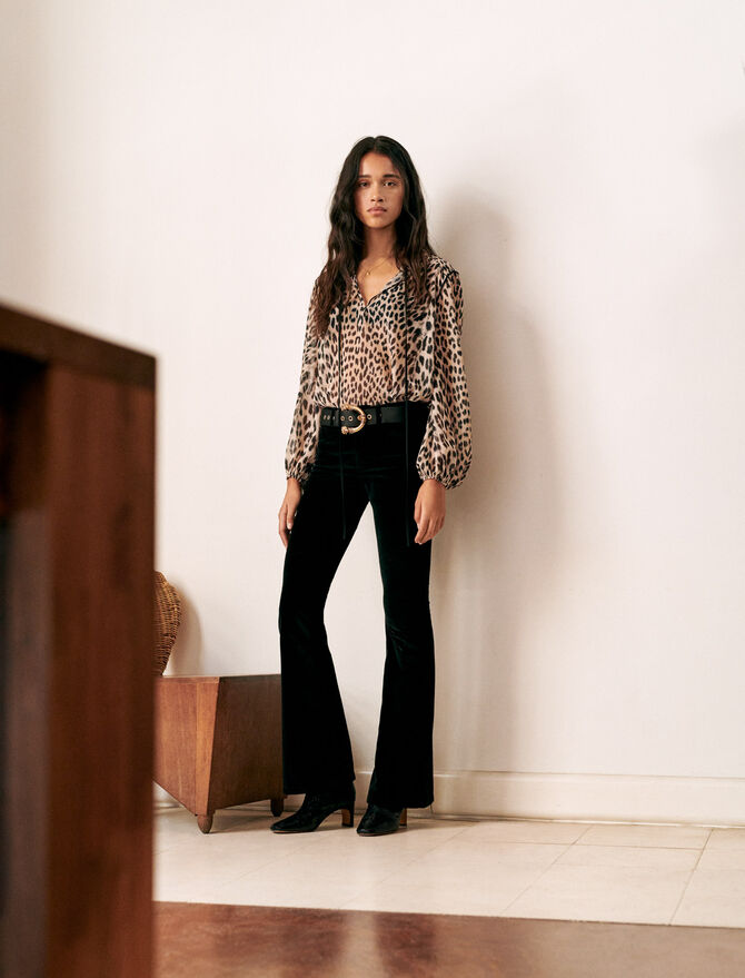 Pantalon évasé en velours - Pap_Pantalons-Jeans - MAJE