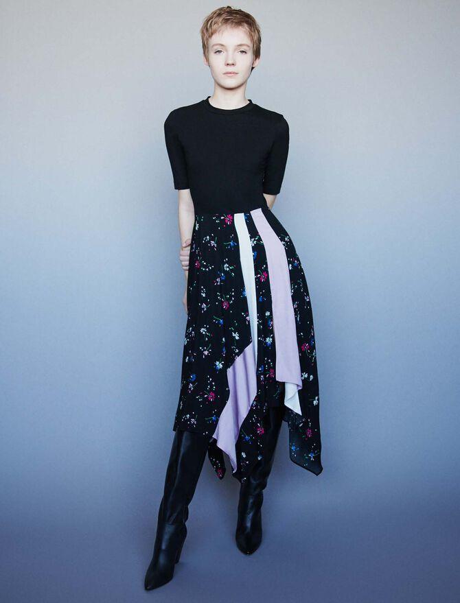 Mixed print trompe-l'oeil dress - SoldesBE_50 - MAJE