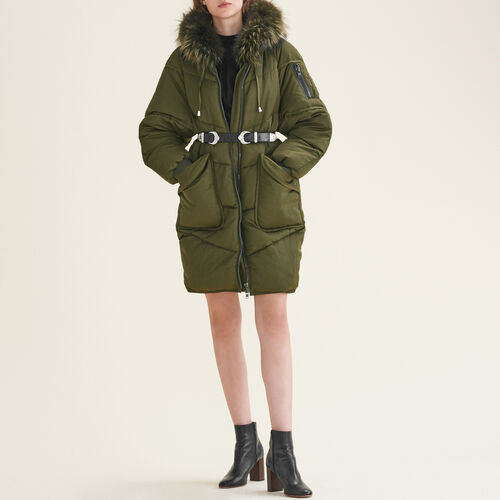 Long down jacket with fur : Coats color Khaki