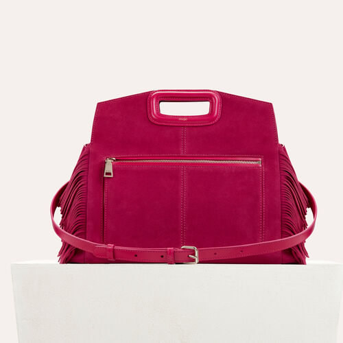 Suede shoulder bag : null color Raspberry