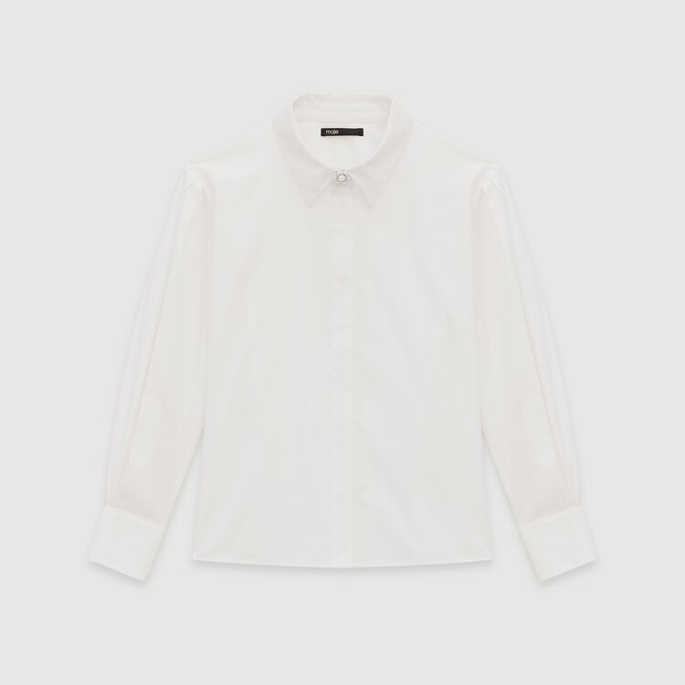 Jeweled button poplin shirt : Tops & Shirts color White