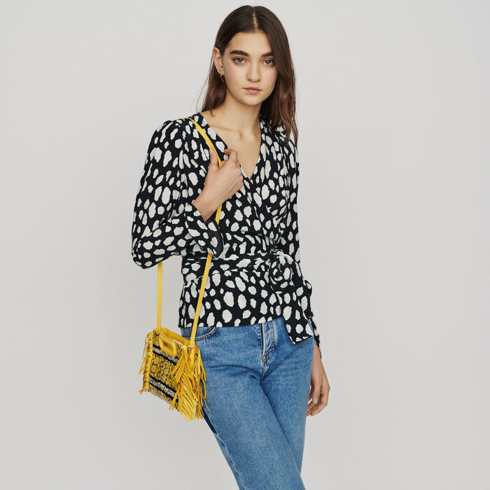 Printed wrap V-neck top : Tops & Shirts color Printed
