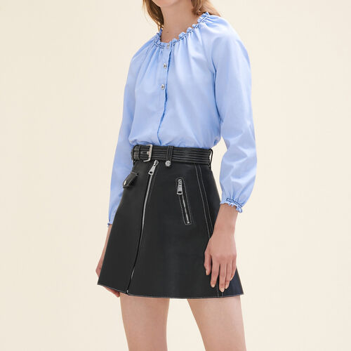 Cotton blouse top with smocking : Tops color Blue