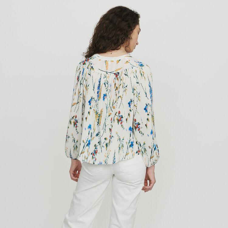 Pleated printed jewel top : Tops color PRINTED