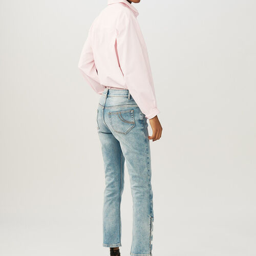 7/8 length flared cut jeans : Jeans color Denim