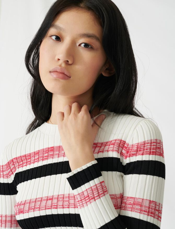 Striped ribbed knit jumper - Pullovers & Cardigans - MAJE