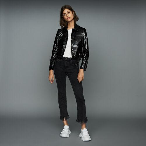Wide-leg jeans with fringe : Jeans color Black 210