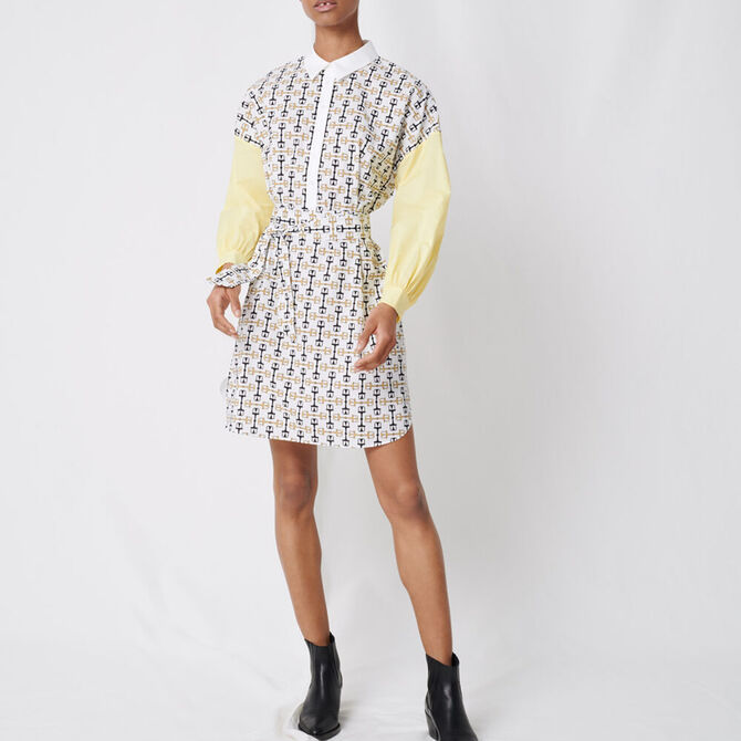 Printed cotton shirt dress -  - MAJE