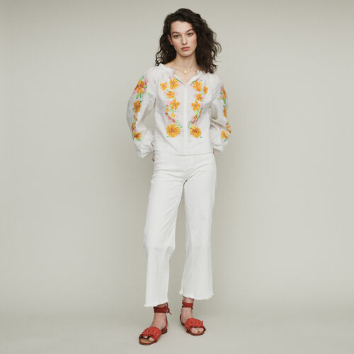 Linen embroidered blouse : Tops & Shirts color White