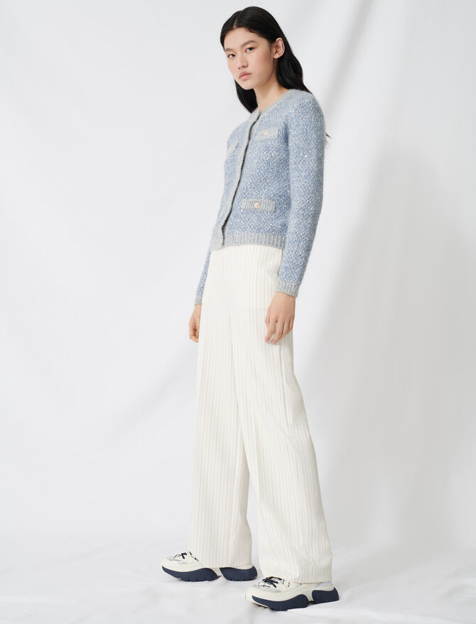 Palazzo trousers, contrasting waistband - Trousers & Jeans - MAJE