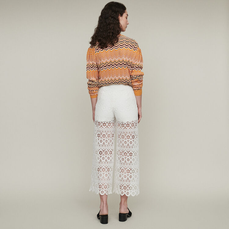Cropped trousers in daisy print : Trousers color WHITE