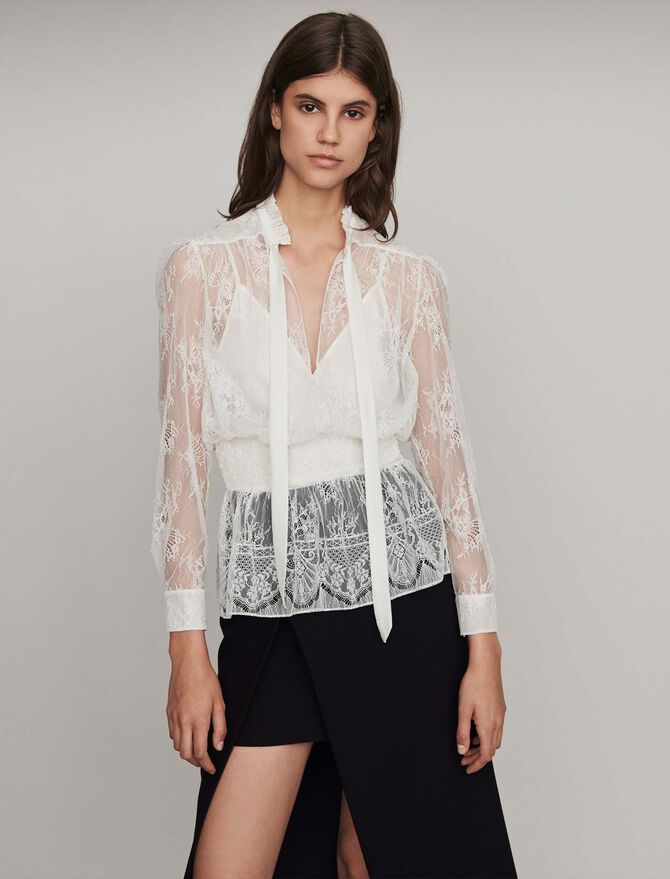 Smocked lace top - Tops & Shirts - MAJE