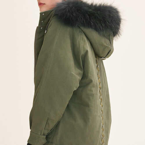 Parka with fur hood : Coats color Khaki