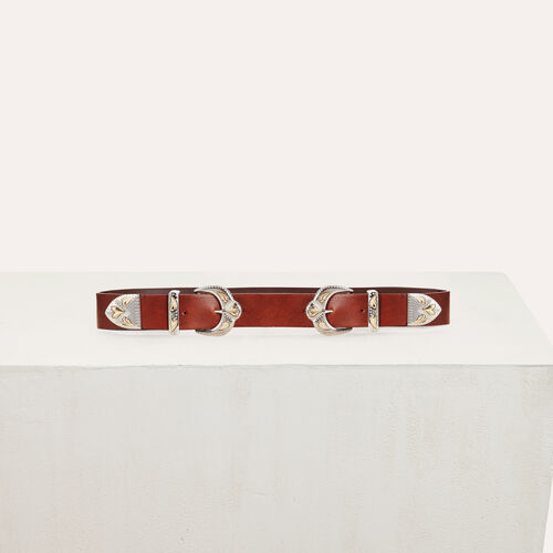 Double-buckle belt in leather : See all color Camel