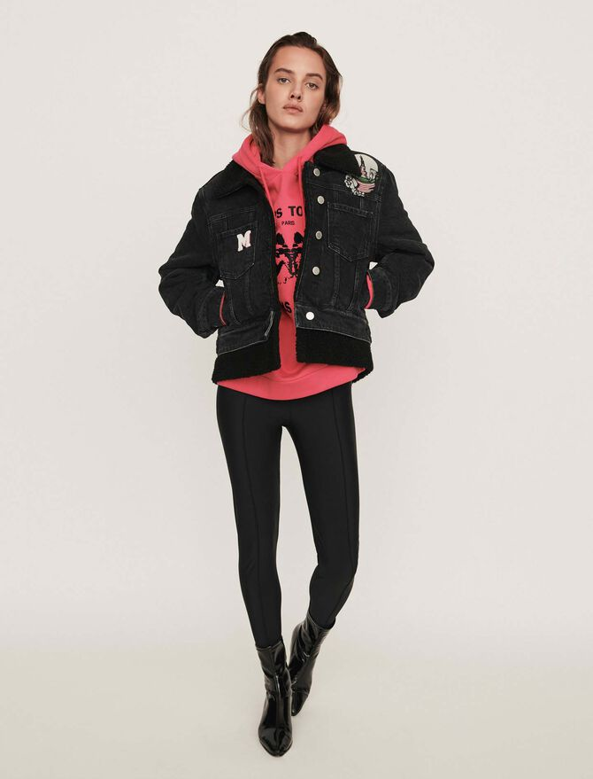 Jean jacket with embroidered patches - SoldesFR_Manteaux_blousons - MAJE