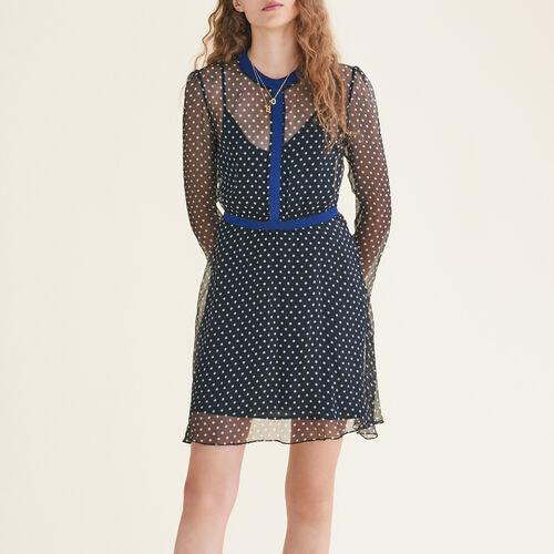 Polka-dot silk chiffon dress : Dresses color Print