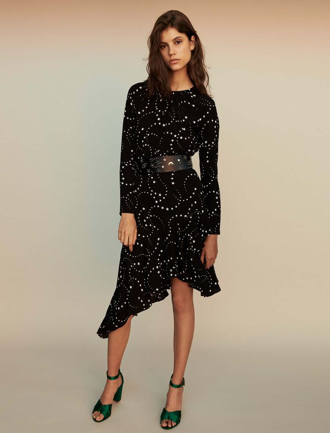 Asymmetrical printed-crepe dress - Dresses - MAJE