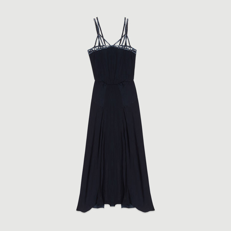 Midi dress with rhinestones : Dresses color Navy