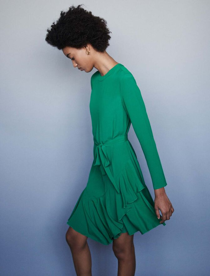 Asymmetrical crepe dress - Dresses - MAJE