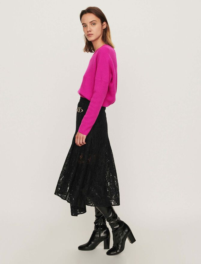 Guipure skirt with cashmere detail - Skirts & Shorts - MAJE