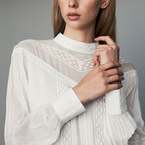 Ruffled shirt with embroidery : Tops color White