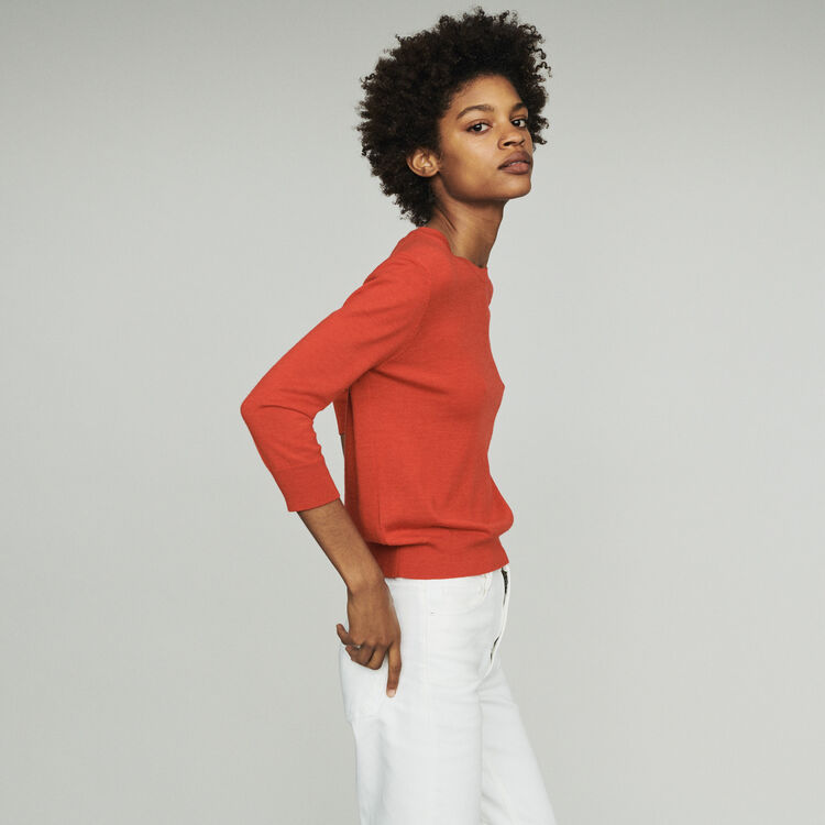 Round collar sweater : Pullovers & Cardigans color Red