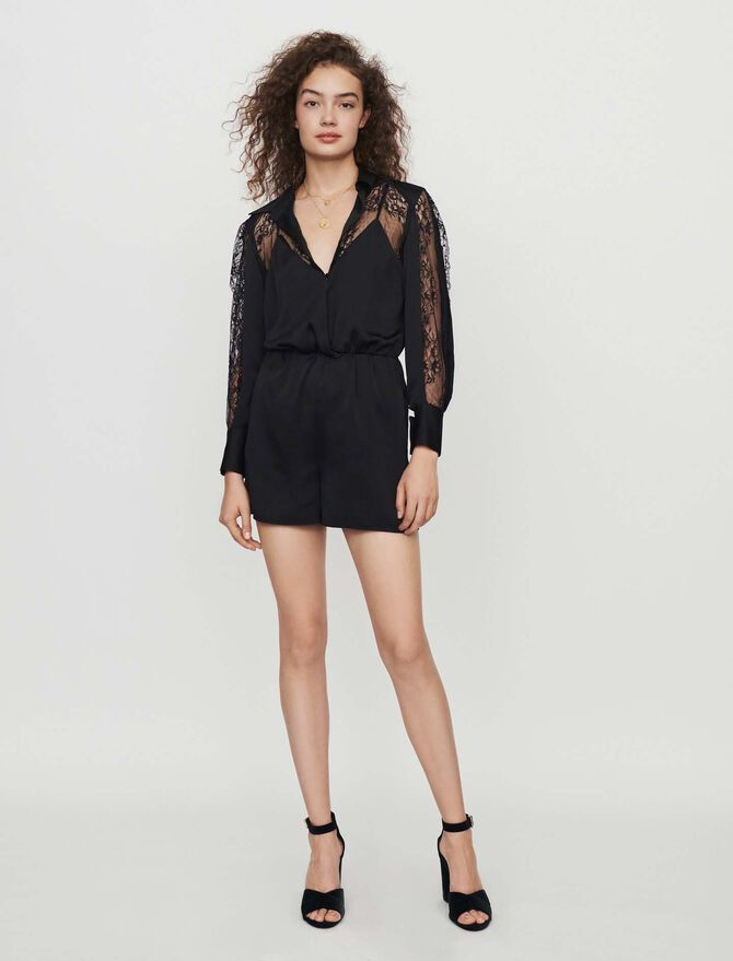 Satin and lace playsuit -  - MAJE