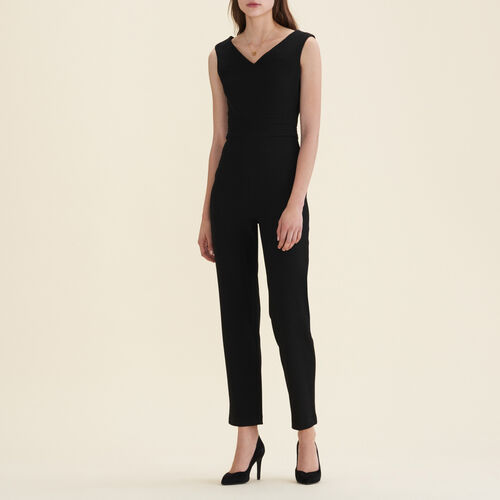 Sleeveless crêpe jumpsuit : Trousers color Black 210