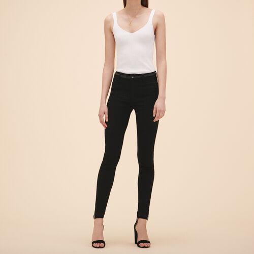 Cotton slim jeans : Jeans color Black 210