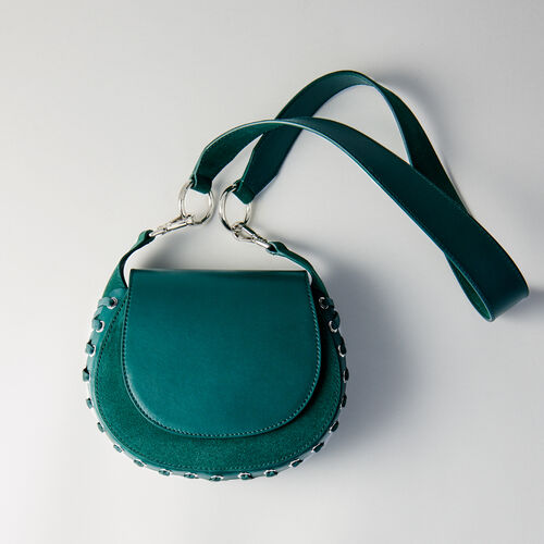 Laceup leather and suede Gyps PM handbag : Suits color GREEN