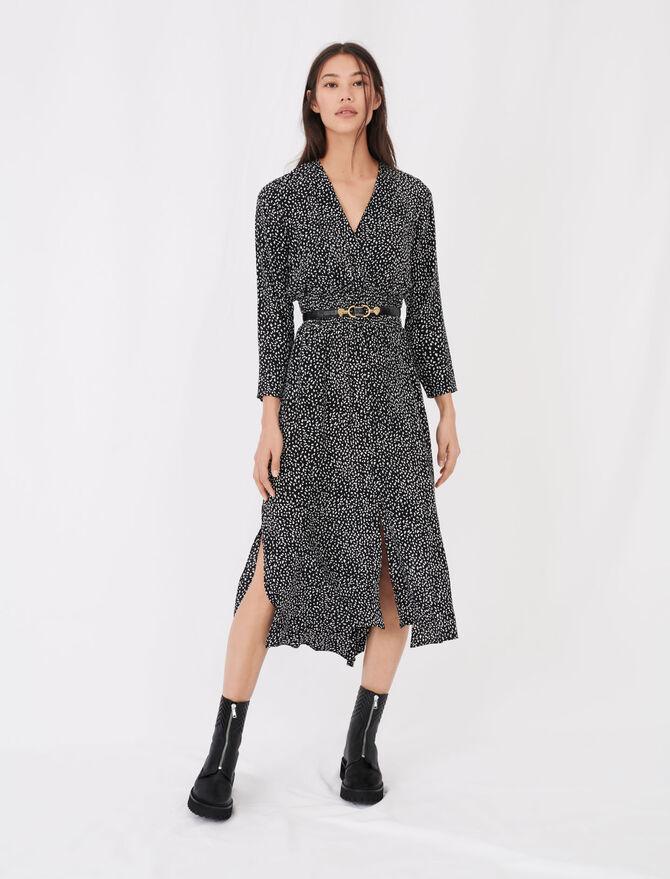 Long crêpe printed dress - Dresses - MAJE