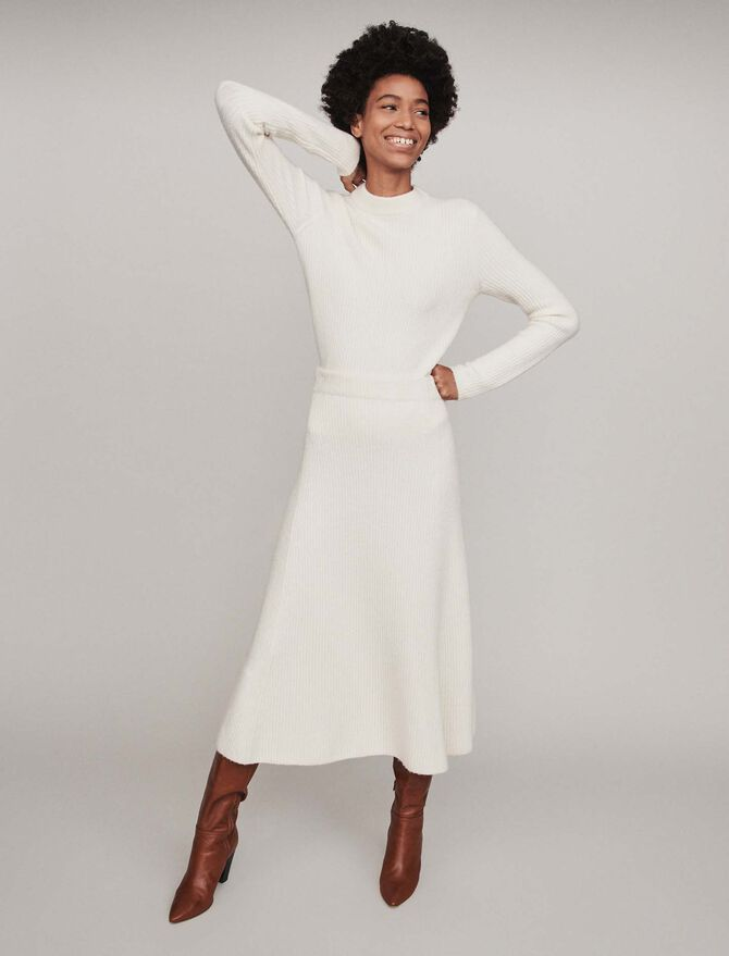 Calf-length ribbed skirt -  - MAJE