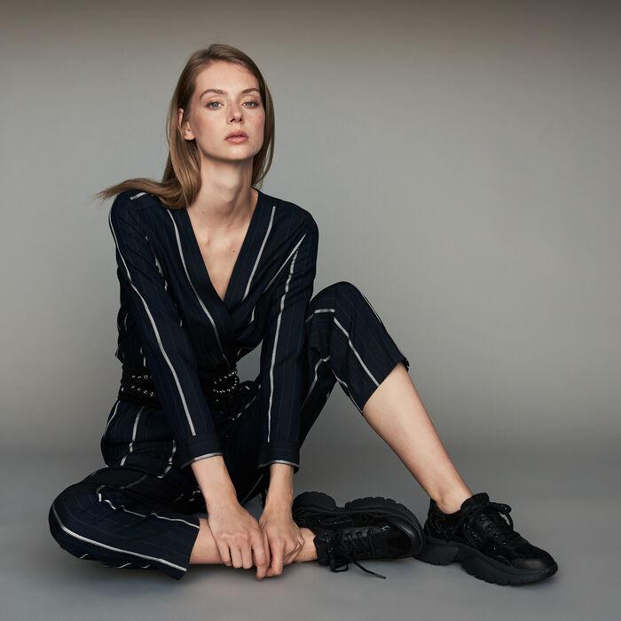 Striped jumpsuit : Trousers & Jeans color Navy