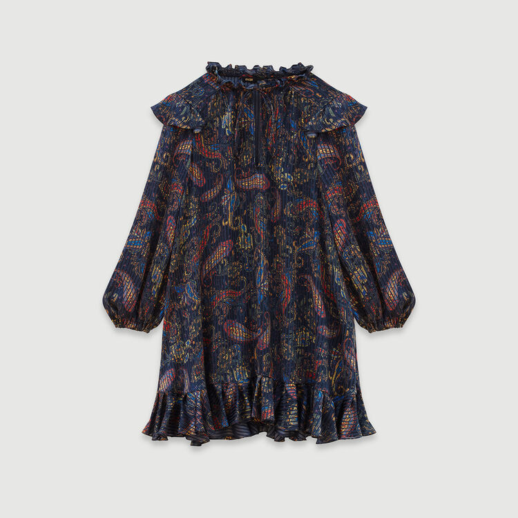 Jacquard-printed babydoll dress : Dresses color Navy