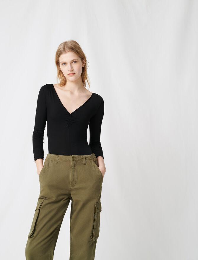 Black V-neck bodysuit - T-Shirts - MAJE