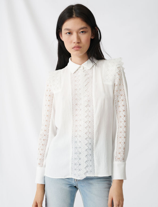 Chemise avec dentelle - Tops & Shirts - MAJE
