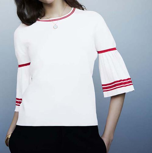 Sweater with pleated sleeves : Knitwear color WHITE