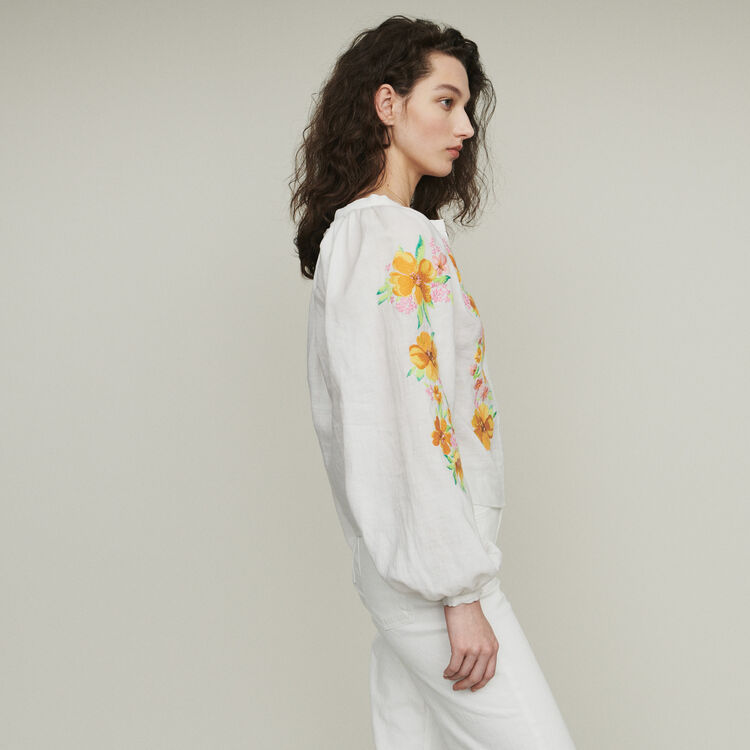 Linen embroidered blouse : Tops color WHITE