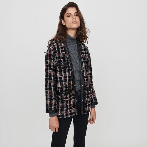 Tweed-syle contrast jacket : Winter collection color Black