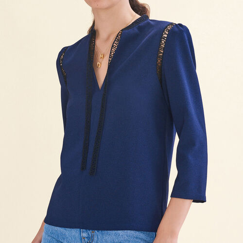 Blouse with braid trim : Tops color Night